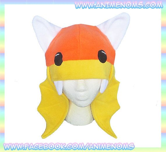 Candy Corn Vampire Bat Hat  Antipill Fleece Beanie by AnimeNoms