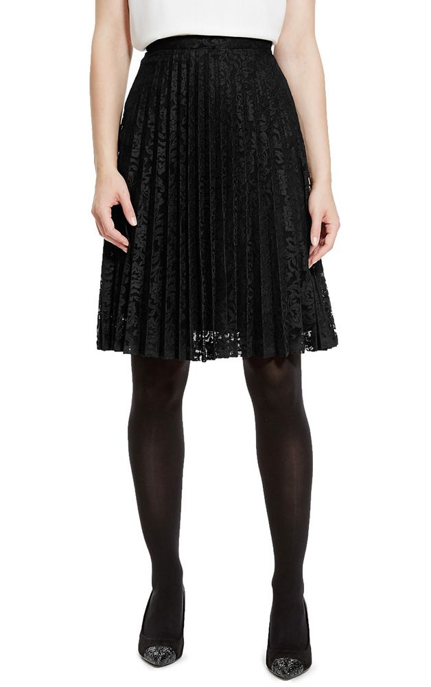 Marks & Spencer Collection Pleated Floral Lace Knee Length A-Line Lined Skirt T57/4241. UK14 & UK16 - EUR42 & EUR44 MRRP: £39.50 GBP - AVI Price: £11.00 GBP