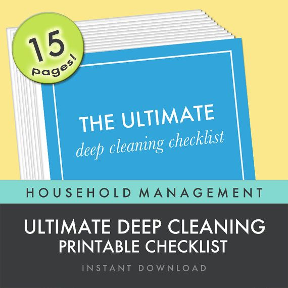 The Ultimate Deep Cleaning Checklist - Printable - Household Binder Planner DIY 15 page by FreshPaperieEtsy, $5.99