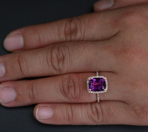 Rose Gold Amethyst Engagement Ring with Natural by Twoperidotbirds
