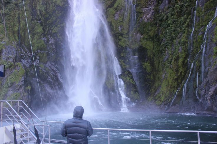 Milford Sound  - Stirling Falls. Get up close and personal with nature as the boat slowly takes you to the edge of the waterfalls and cliff faces. #UltimateQueenstown