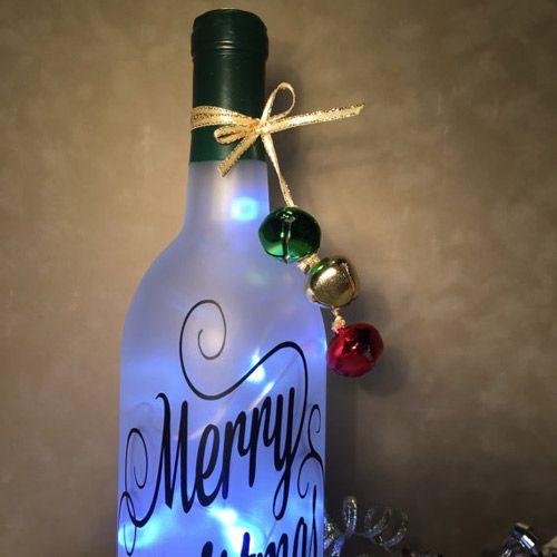 #Christmas Themed Bottles With Lights On Etsy 2016 #bottlecrafts