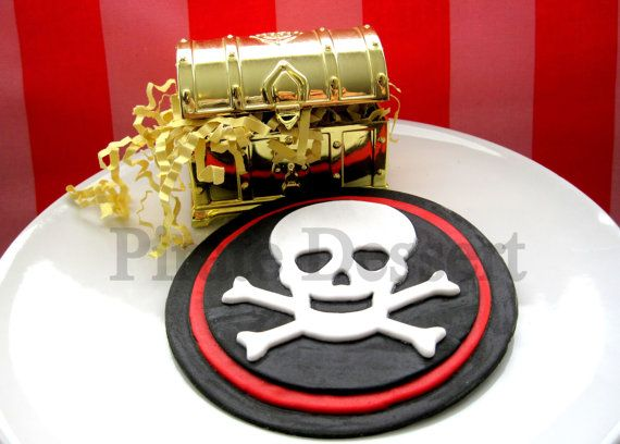 Edible Cake Decorations Skull : Edible Cake Topper PIRATE SKULL and Cross Bones - Jolly ...