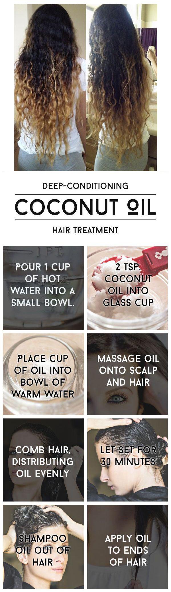 Tratamiento en profundidad del cabello: aceite acondicionador de coco. Pruebe…