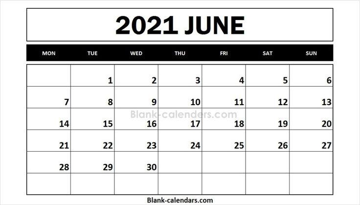 June 2021 Calendar Monday Start | 2021 calendar, Online ...