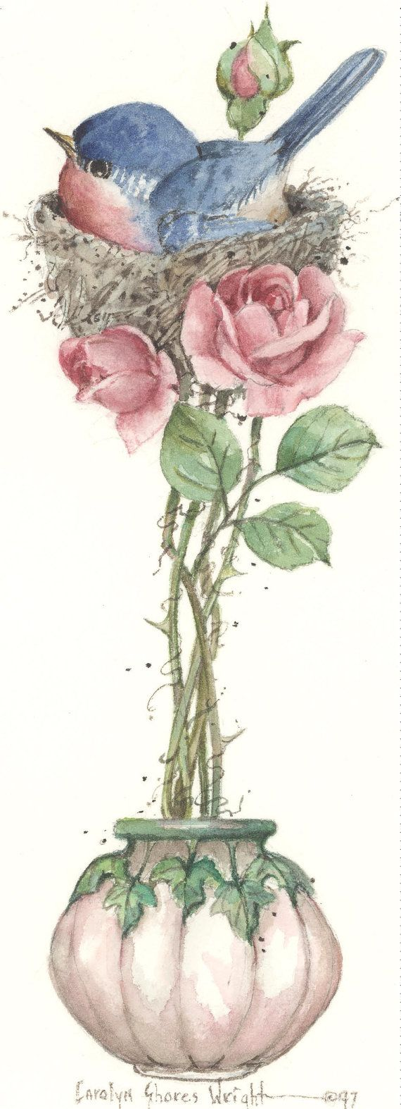 Litografia de Bluebird Topiary 10 x 5