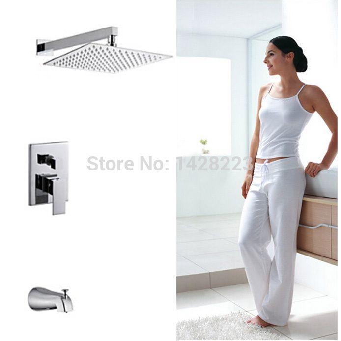 Роскошный 8 Ультратонких Showerhead Ванная Комната Душ Набор Кран Одной Ручкой Хром Закончил