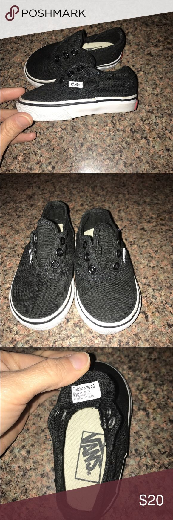 Toddler size 4.0 vans tennis shoes Does not require shoestrings. Has elastic stretch panels in shoes. Worn one time. No stains or signs of use. Very cute! Smoke free home! Vans Shoes Sneakers