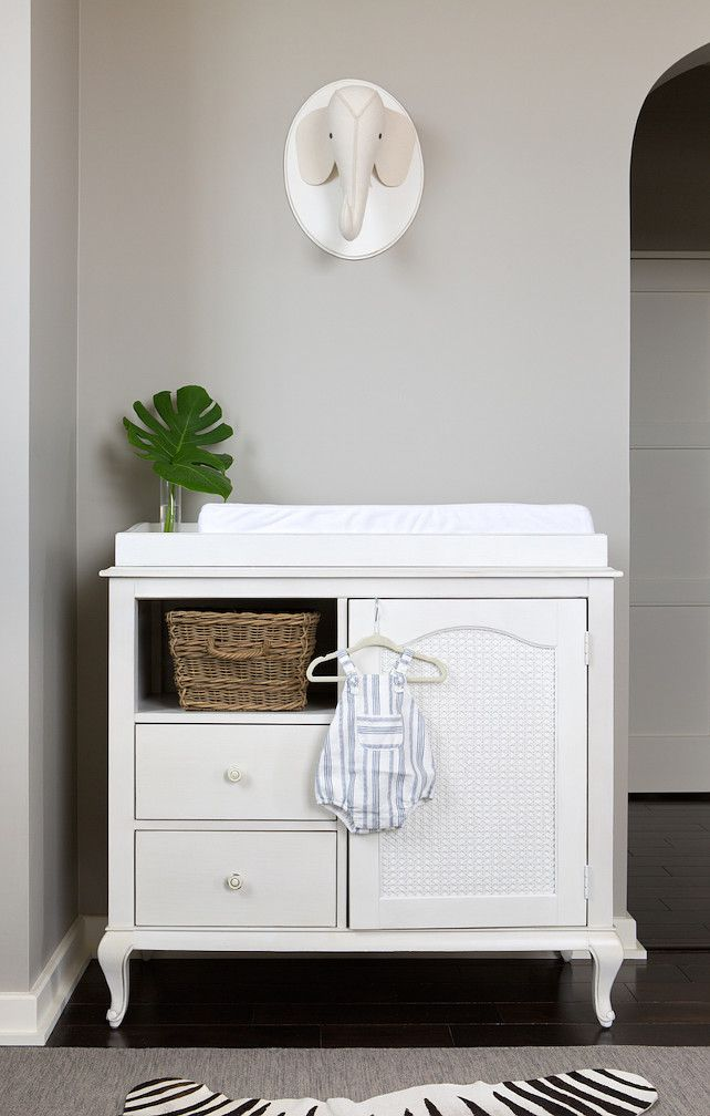 White Changing Table. Baby Changing Table. Nursery with white changing table. White changing table against gray walls. The white changing table is from Restoration Hardware. #WhiteChangingTable #ChangingTable Camille Styles. Photos by Molly Winters.