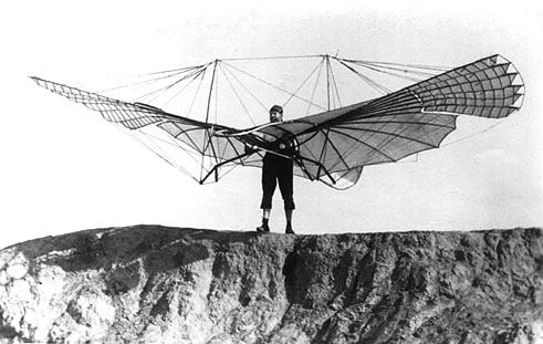 Otto Lilienthal - before takeoff with small wing-flapping glider - ca. 1894
