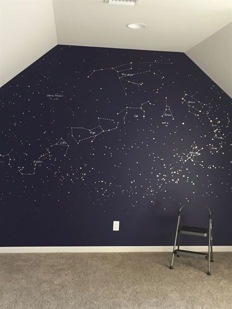 Constellation map mural. Painted with gold and silver paint pens in a deep blue wall// (diy crafts for apartment) #DIY #HomeDecor