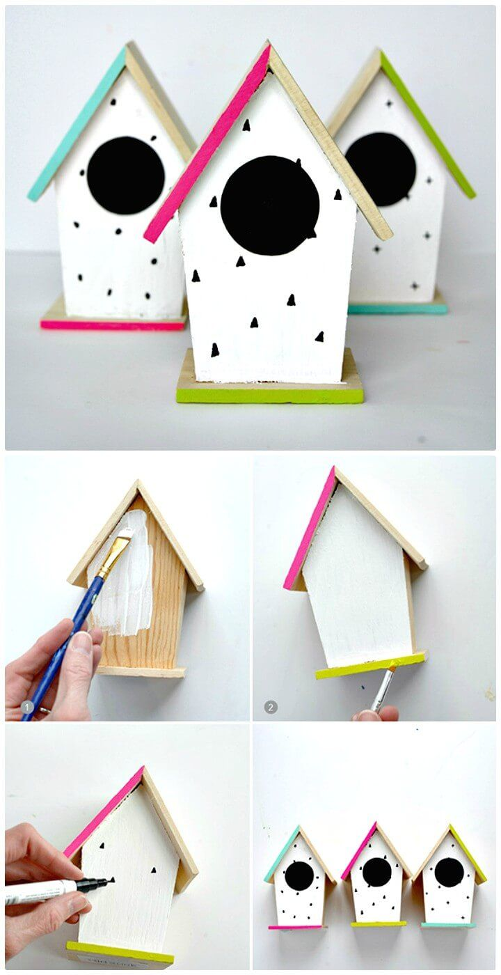 How to Create Hand-Painted Birdhouse - 101 Easy DIY Spring Craft Ideas and Projects - DIY & Crafts