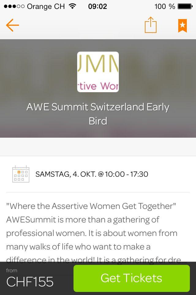 Tickets on Eventbrite  ... Don't miss it. AweSummit Switzerland