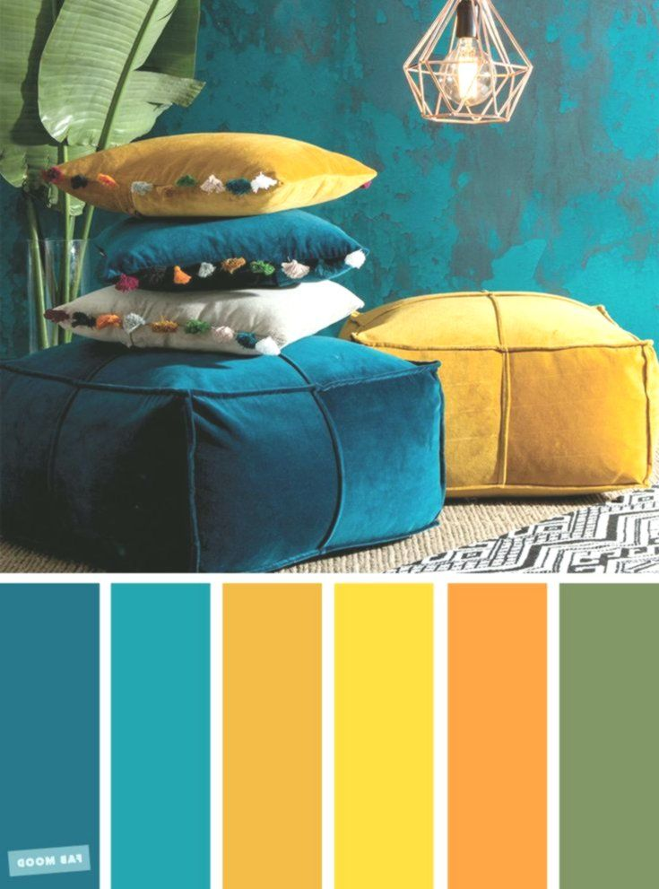 Beautiful Color Inspiration The Palette Of Copper Green Mustard Peacock Teal Beautiful Color C Mustard Yellow Decor Yellow Decor Blue Color Schemes #teal #and #mustard #living #room