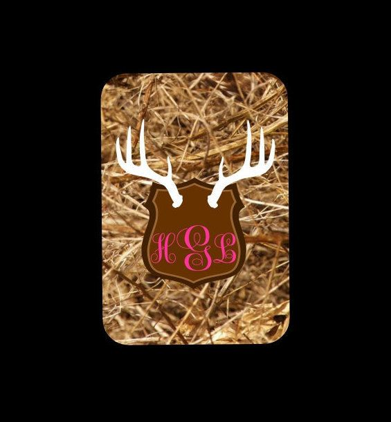 Personalized Monogram Camo with Antlers Luggage by LazyDogConcepts  #camo #antlers #bagtag #luggagetag #travel #girlycamo