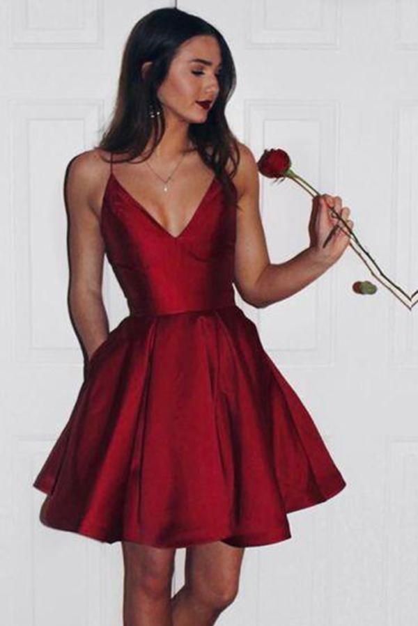 f27dc40b4fe Burgundy 2018 Short Cute Simple Spaghetti Straps Homecoming Dress OK201