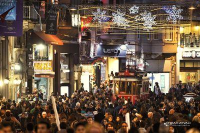 Taxim, Beyoglu saturday night crowd with tram