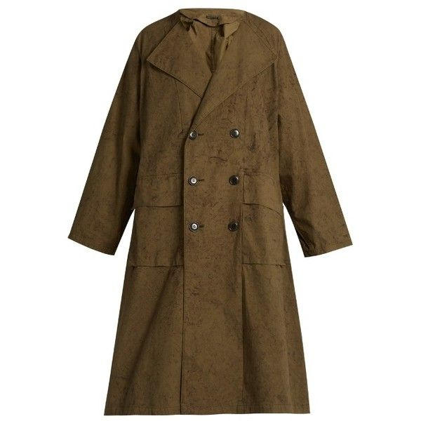 Y S By Yohji Yamamoto Double Breasted Cotton Trench Coat ($785) ❤ liked on Polyvore featuring outerwear, coats, brown coat, cotton coat, brown trench coat, cotton trench coat and double-breasted coat