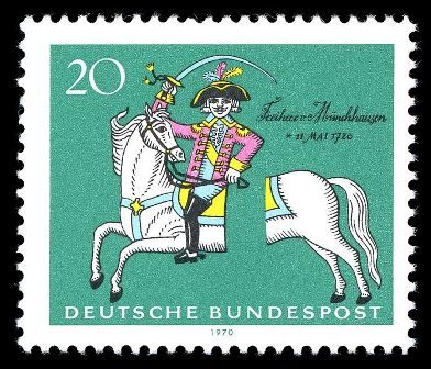 Der Lügenbaron Münchhausen auf Briefmarke von 1970