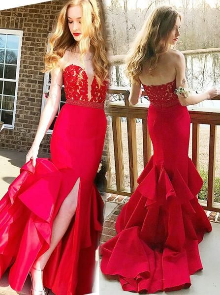 255d8836a005 Gorgeous Mermaid Prom Gown,Red Evening Dress with Slit Elegant, Strapless  Fitted Prom Dress PD00069