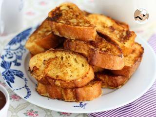 Pan perdido con baguette. Torrijas francesas