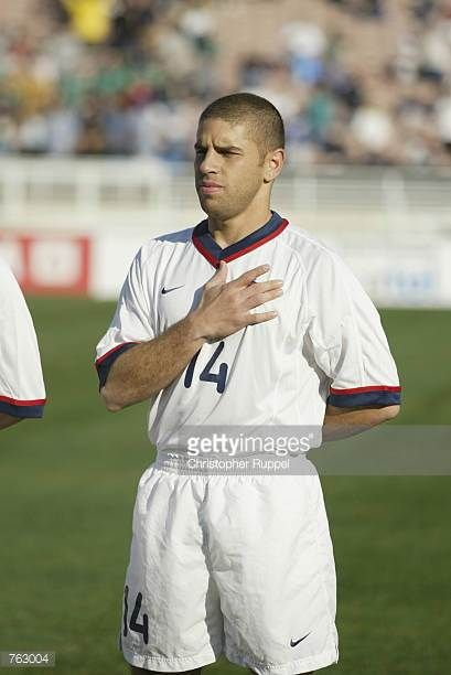 Chris Armas of the USA stands for the National Anthem before the CONCACAF Gold Cup match against Cuba on January 21 2002 at the Rose Bowl in Pasadena...