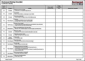 checklist for restaurant  Google Search  Evans_Ops Class  Checklist template Opening a