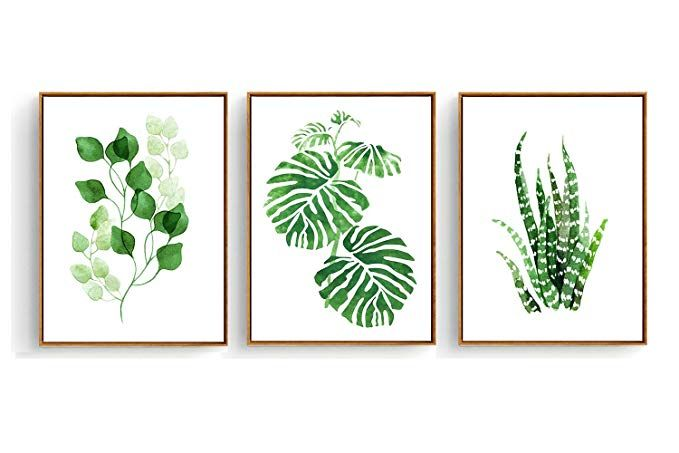 Hepix Canvas Wall Art 3 Pieces Tropical Green Leaves Painting For
