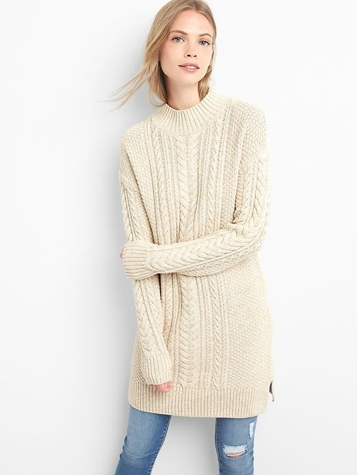 4518c3a4fd9 Gap Womens Mockneck Cable-Knit Sweater Dress Oatmeal Heather ...