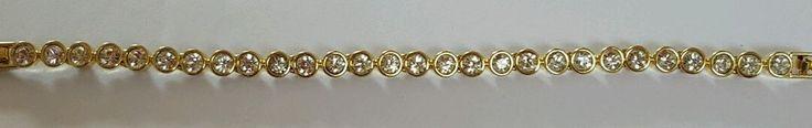 Stunning ladies Swarovski Tennis bracelet yellow gold in Jewellery & Watches, Costume Jewellery, Bracelets   eBay