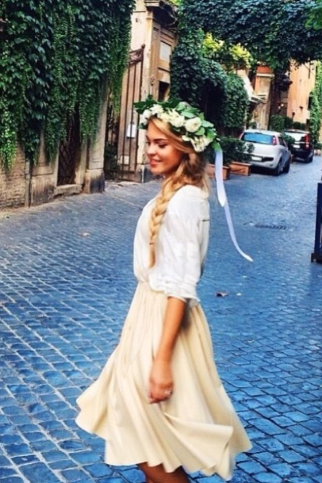 Simple, Pretty, and Modest Outfit. Beautiful Side Braid and White Flower Crown
