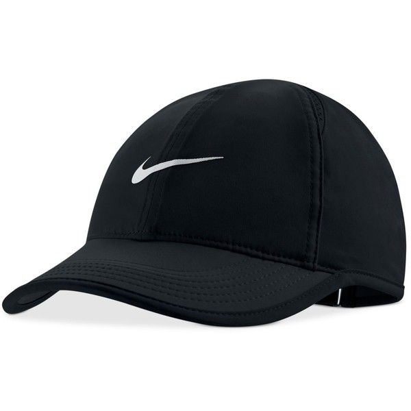 Nike Featherlight Cap ($24) ❤ liked on Polyvore featuring accessories, hats, headwear, black, hair, cap hats, nike, nike hat and nike cap