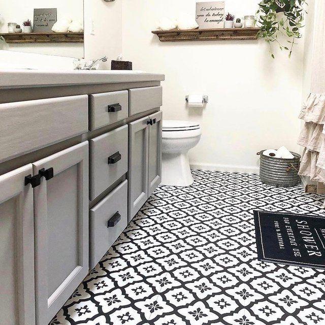 Floorpops Peel Stick Tiles Stick On Tiles Stick On Tiles Bathroom Black And White Bathroom Floor
