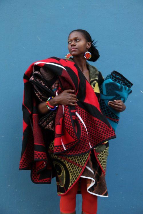 Traditional Basotho blankets, contemporary design by Thabo Makhetha.