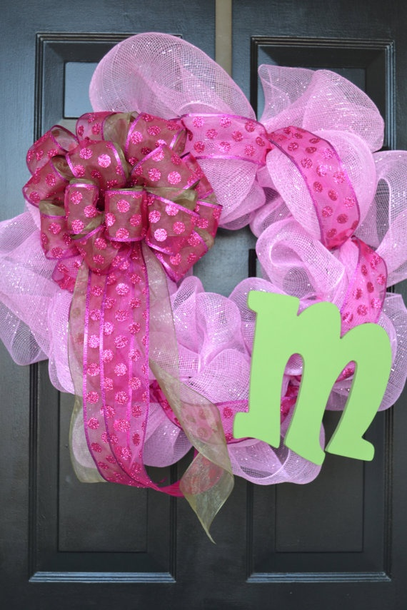 Initial Baby Girl Wreath by ElisabethsBoutique on Etsy, $50.00