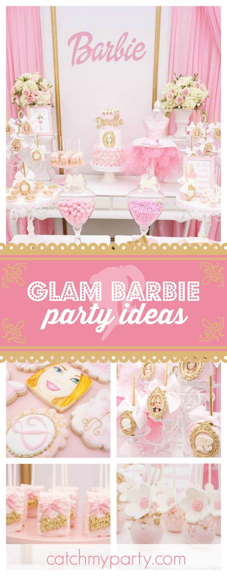 Take a look at this glamorous Barbie birthday party! The dessert table is amazing!! See more party ideas and share yours at CatchMyParty.com