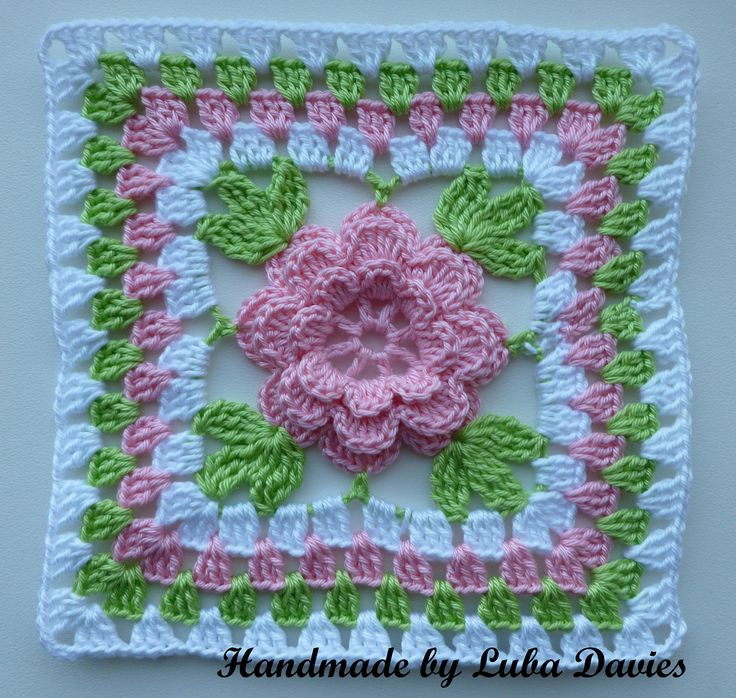 PDF pattern - Flower in granny square motif.