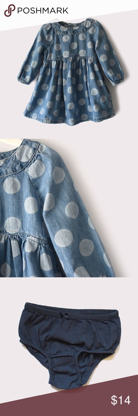 """Baby Gap Print Jean Dress  w/ diaper cover Baby Gap   size 2T   polka dot print   back button closure   diaper cover included   all pictures taken, product is shown as is   BUNDLE TO SAVE! I accept offers on bundles only. 10% off of 2 or more items. Items priced at $7 are the lowest price. Click on the """"Thinking of Making an Offer"""" post for more Info. GAP Dresses"""