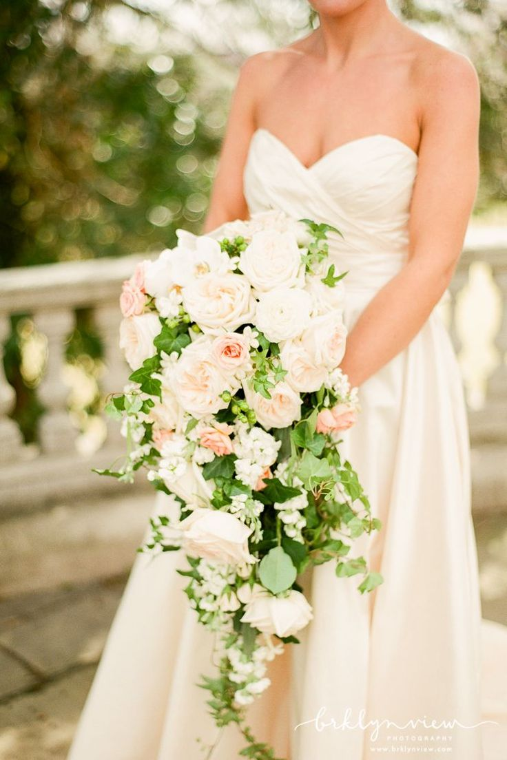 Is this not the most beautiful bouquet! gorgeous cascading wedding bouquets with white and blush flowers.