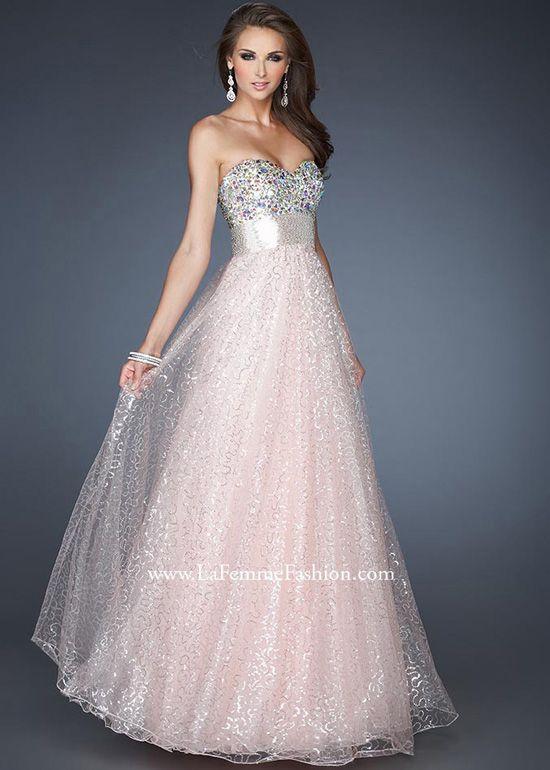 La Femme 18910 - Light Pink Strapless Sweetheart Sequin Ball Gown Prom Dresses Online #thepromdresses