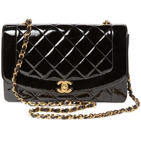 Chanel Women s Vintage Black Quilted Patent Border Flap Medium - Black  (4 6b851059a3