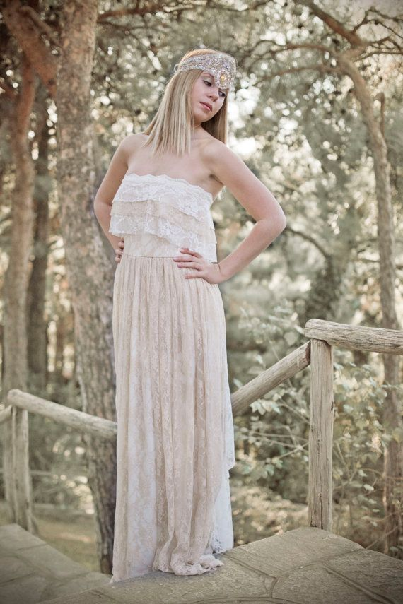 Bohemian Wedding Dress Cream Lace Wedding Dress by SuzannaMDesigns