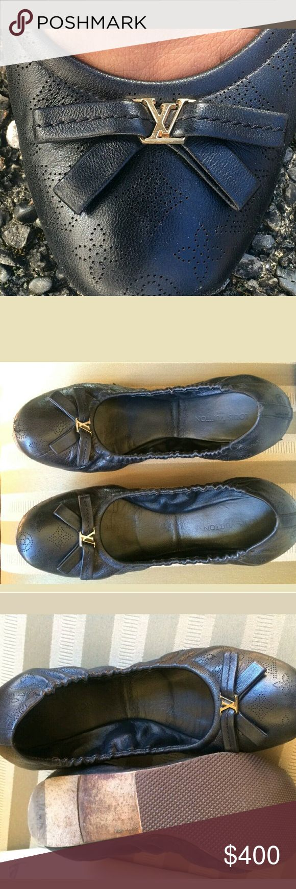 "Louis vuitton ""ELBA"" black ballet flats 100% authentic  Louis Vuitton black ""ELBA"" monogram ballet flats with gold LV hardware.  Size has been worn off but they are a 39.5 and fit a US 9 perfectly.  No box  GOOD CONDITION MINOR WEAR Louis Vuitton Shoes Flats & Loafers"