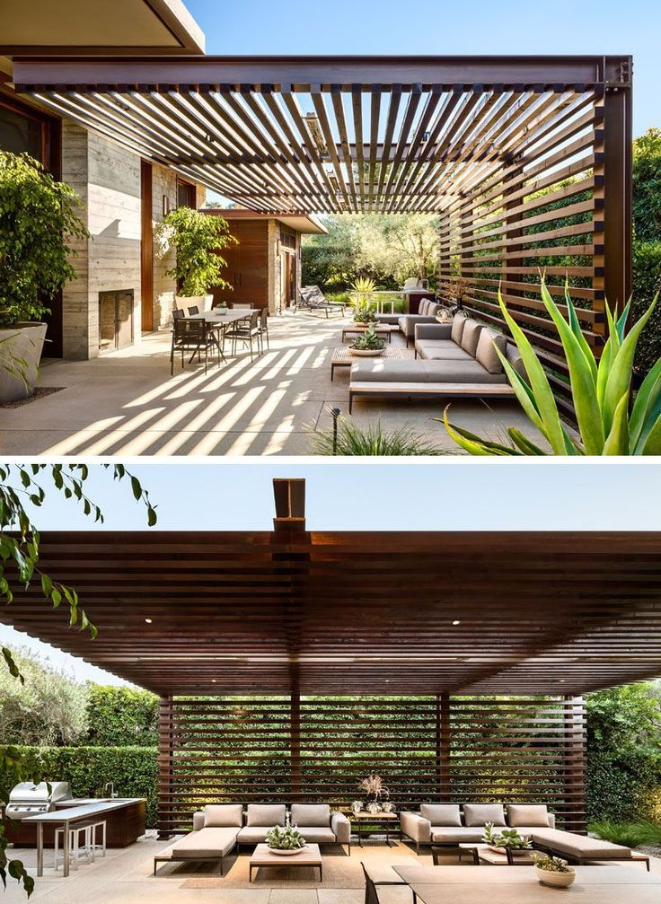 This modern house has an outdoor entertaining area with a wood and steel pergola, a fireplace and lounge area, as well as an outdoor kitchen with a bbq and dining table. #ModernPergola #OutdoorLounge #OutdoorKitchen #modernyardfirepits