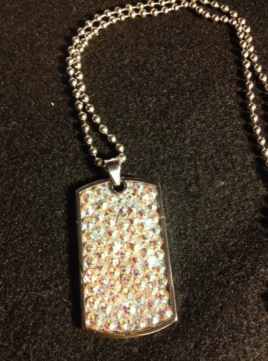 Silence Auction item: Thank you to Ice Diva Designs for the Swarovski Crystal Dog Tag -- Crystal AB.  Irrisistible in Person!