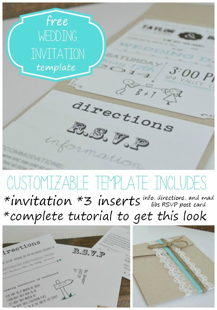Free Wedding Invitation Template with Inserts #freeweddinginvitation #wedding #printable