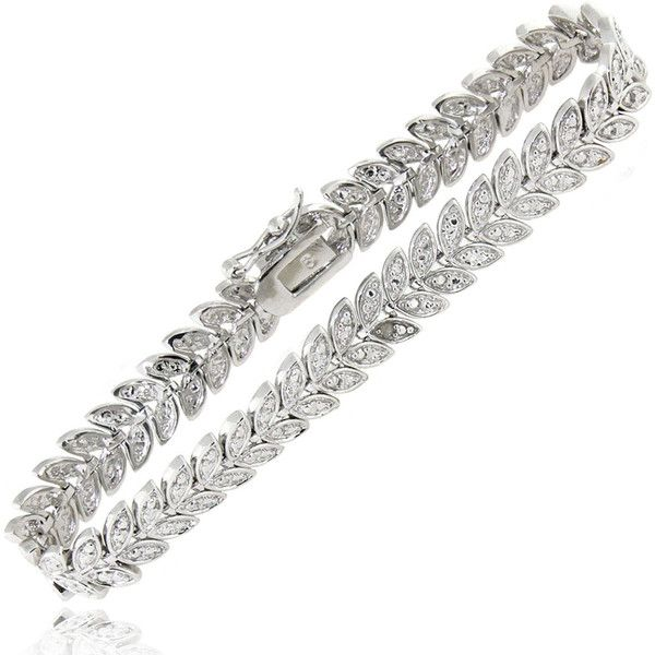 Finesque Gold or Silver Overlay Diamond Accent Leaf Bracelet ($21) ❤ liked on Polyvore featuring men's fashion, men's jewelry, men's bracelets, white, mens white gold bracelets, mens yellow gold bracelets, mens gold bracelets, mens silver bracelets and mens gold and silver bracelets