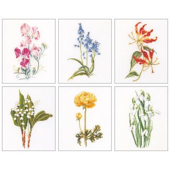 Thea Gouverneur counted-cross-stitch Kit Floral Studies 6 On Linen