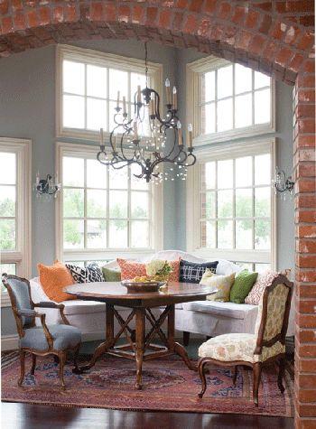 love brick in homes: Breakfast Rooms, Dining Rooms, Idea, Window, Breakfast Nooks, Color, Interiors Design, Dining Nooks, Expo Brick