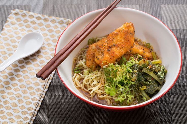 Crispy Catfish Shoyu Ramen with Yu Choy & Fresh Ramen Noodles / It's Blue Apron week! Ramen noodles were yummy, even after I accidentally spilled them in the sink...! Catfish was great, the sauce flavoring the broth was ok... Spices were good.
